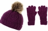 Boardman Darby Ladies Cable Knit Beanie and Matching Gloves in Plum