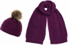 Boardman Darby Ladies Cable Knit Beanie with Matching Scarf in Plum