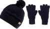 Boardman Finley Cable Knit Beanie with Matching  Gloves in Navy