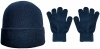 Boardmans Recycled Repreve Beanie Hat with Matching Gloves in Navy