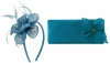 Elegance Collection Diamante Flower Fascinator with Matching Bag in Bluebell