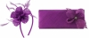 Elegance Collection Diamante Flower Fascinator with Matching Bag in Purple