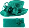 Elegance Collection Events Hat with Matching Sinamay Diamante Bag in Teal