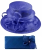 Elegance Collection Sinamay Wedding Hat with Matching Sinamay Bag in Cobalt