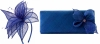 Elegance Collection Sinamay Leaf Fascinator with Matching Occasion Bag in Cobalt