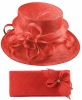 Elegance Collection Sinamay Wedding Hat with Matching Sinamay Bag in Coral