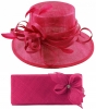 Elegance Collection Sinamay Wedding Hat with Matching Sinamay Bag in Fuchsia