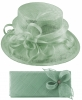 Elegance Collection Sinamay Wedding Hat with Matching Sinamay Bag in Ice Blue