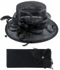 Elegance Collection Sinamay Wedding Hat with Matching Sinamay Bag in Navy
