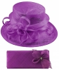 Elegance Collection Sinamay Wedding Hat with Matching Sinamay Bag in Purple