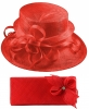 Elegance Collection Sinamay Wedding Hat with Matching Sinamay Bag in Red
