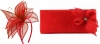 Elegance Collection Sinamay Leaf Fascinator with Matching Occasion Bag in Red