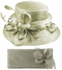 Elegance Collection Sinamay Wedding Hat with Matching Sinamay Bag in Silver