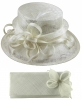 Elegance Collection Sinamay Wedding Hat with Matching Sinamay Bag in White