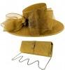 Failsworth Millinery Bow Events Hat with Matching Sinamay Occasion Bag in Gold