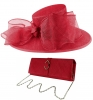 Failsworth Millinery Bow Events Hat with Matching Sinamay Occasion Bag in Samba