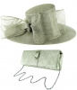 Failsworth Millinery Bow Events Hat with Matching Sinamay Occasion Bag in Steel
