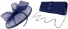 Failsworth Millinery Sinamay Disc with Matching Sinamay Occasion Bag in Cobalt