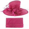 Max and Ellie Events Hat with Matching Large Occasion Bag in Fuchsia