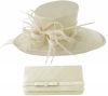 Max and Ellie Events Hat with Matching Occasion Bag in Ivory