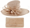 Max and Ellie Events Hat with Matching Large Occasion Bag in Metallic Nude