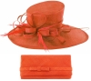 Max and Ellie Events Hat with Matching Occasion Bag in Orange