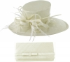 Max and Ellie Events Hat with Matching Occasion Bag in White
