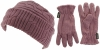 SSP Hats Thermal Patterned Beanie with Matching Gloves in Purple