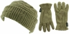 SSP Hats Thermal Patterned Beanie with Matching Gloves in Sage