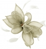 Failsworth Millinery Sinamay Clip Fascinator in Silver