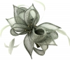 Failsworth Millinery Sinamay Diamante Clip Fascinator in Steel