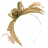 Failsworth Millinery Aliceband Sinamay Fascinator in Taupe-Silver