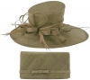 Max and Ellie Events Hat with Matching Large Occasion Bag in Taupe