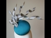 Esther Louise Millinery Sculptural Silk Button Hat in Teal