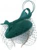Failsworth Millinery Velvet Sinamay Pillbox Headpiece in Teal