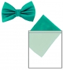 Max and Ellie Mens Bow Tie and Pocket Square Set in Turquoise