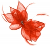 Failsworth Millinery Sinamay Diamante Clip Fascinator in Vermilion