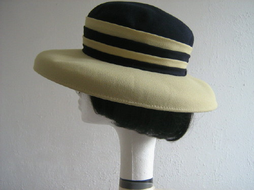Jacques Vert Wedding hat / Formal hat Navy and Pale Olive